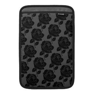 Black Rose Pattern on Grey Sleeve For MacBook Air