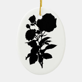 Black Rose Silhouette Ceramic Oval Decoration