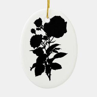 Black Rose Silhouette Christmas Ornament