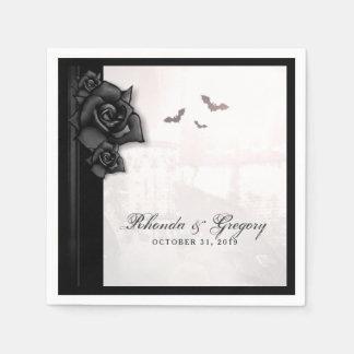 Black Roses & Bats Gothic Halloween Wedding Napkin Disposable Napkin