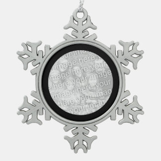 Black Round Border Pewter Snowflake Decoration