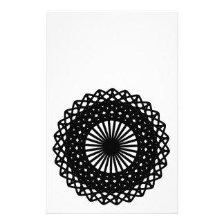Black Round Lace Style Pattern. 14 Cm X 21.5 Cm Flyer