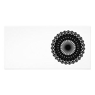 Black Round Lace Style Pattern Photo Card