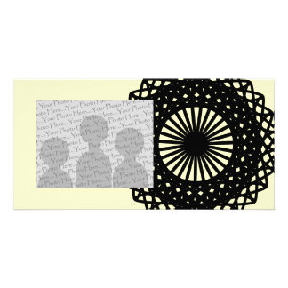Black Round Lace Style Pattern. Picture Card