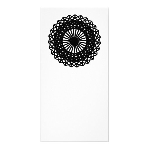 Black Round Lace Style Pattern. Photo Card Template