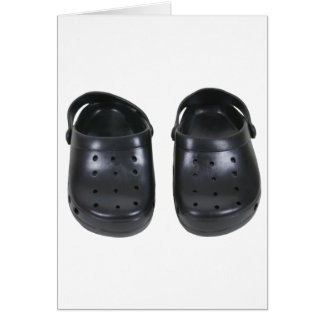Black rubber clogs greeting card