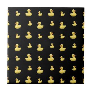 Black rubber duck pattern small square tile
