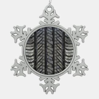 Black Rubber Tire Thread Texture Design Pewter Snowflake Decoration