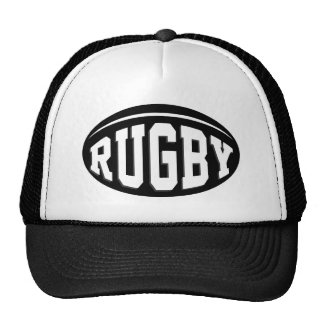 Black Rugby Ball With White Lettering Cap