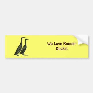 Black Runner Ducks Car Bumper Sticker