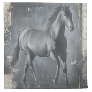 Black Running Stallion Napkin