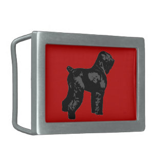 Black Russian Terrier Rectangular Belt Buckle