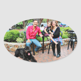 Black Russian Terrier Vader and Min Pin Elroy Oval Sticker