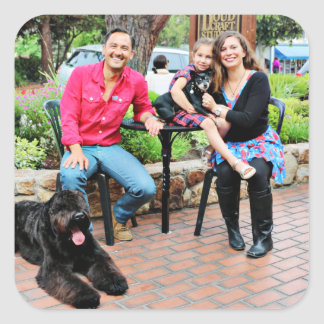 Black Russian Terrier Vader and Min Pin Elroy Square Sticker