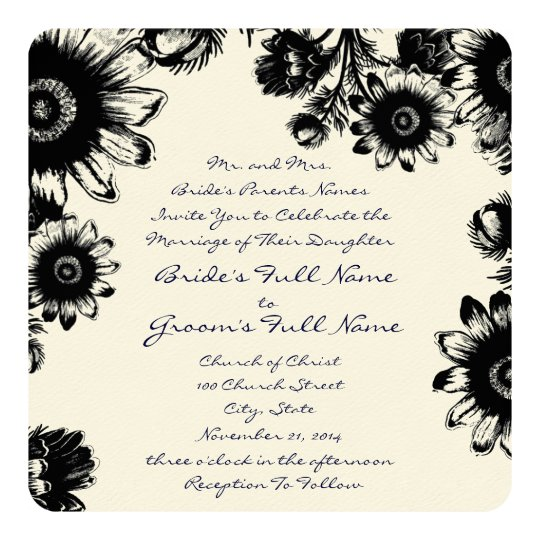 Black Rustic Romantic Navy Font Wedding Invitation