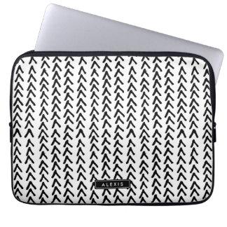 Black Rustic Tribal Pattern Personalized Laptop Laptop Computer Sleeves