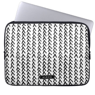 Black Rustic Tribal Pattern Personalized Laptop Laptop Sleeve