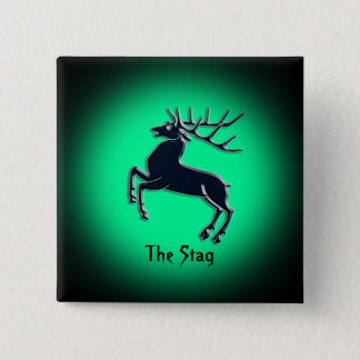 Black Rutting Stag on green spotlight effect 15 Cm Square Badge