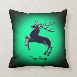 Black Rutting Stag on green spotlight effect Cushion
