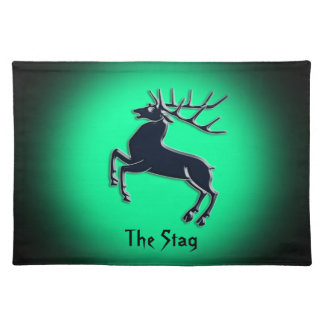 Black Rutting Stag on green spotlight effect Placemat