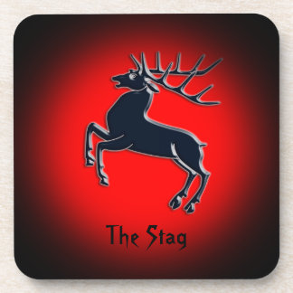 Black Rutting Stag on red spotlight effect Coaster