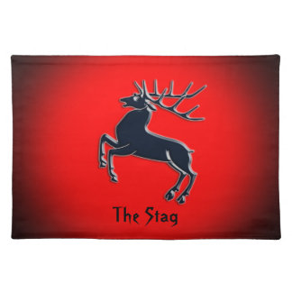 Black Rutting Stag on red spotlight effect Placemat