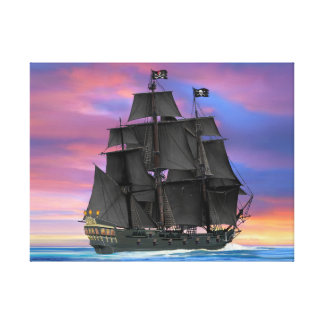 Black Sails of the Seven Seas Canvas Print