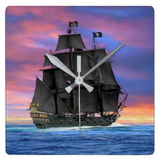Black Sails of the Seven Seas Square Wall Clock
