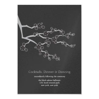 Black Sakura Cherry Blossoms Zen Wedding Reception Card