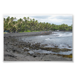 Black Sand Beach Photo Print