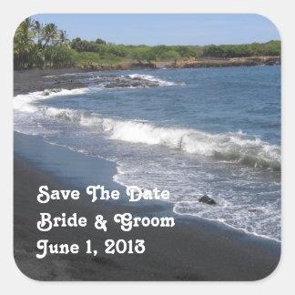 Black Sand Beach Wedding Sticker