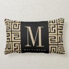 Black|Sand Kuba Print Inspired Monogram Lumbar Cushion