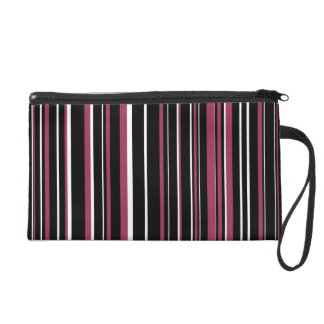 Black, Sangria Pink, White Barcode Stripe Wristlet