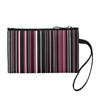 Black, Sangria Pink, White Barcode Stripe Coin Purse