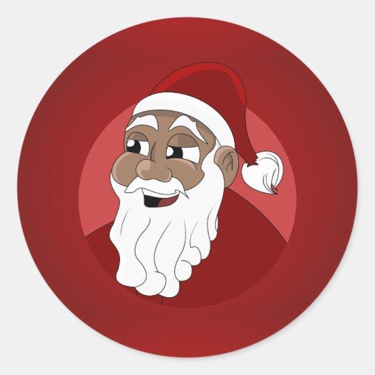 Black Santa Claus Cartoon Classic Round Sticker