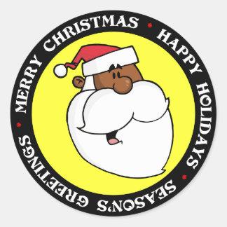 Black Santa Claus Classic Round Sticker