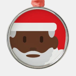 black santa claus emoji christmas ornament