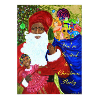 "Black Santa Claus Party Invitations - Customizable 4.5"" X 6.25"" Invitation Card"