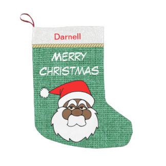 Black Santa Merry Christmas Small Christmas Stocking