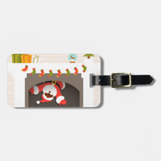 black santa stuck in fireplace luggage tag