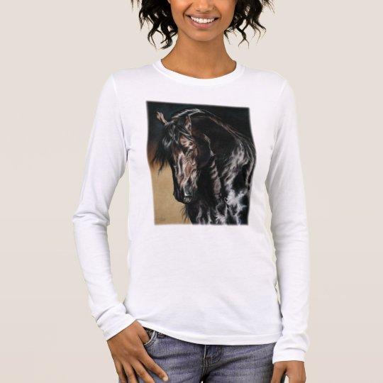 Black Satin Long Sleeve T-Shirt