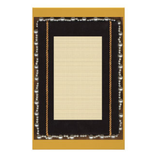Black Satin Silk Frame With Faux Pearl And Gold Ro Stationery