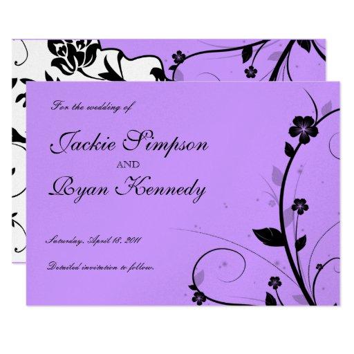 Black Save the Date Invite Floral Purple Silver