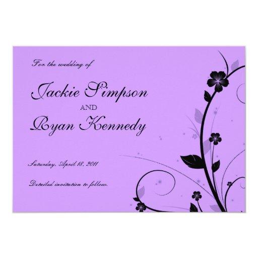 Black Save the Date Invite Floral Purple Silver 13 Cm X 18 Cm Invitation Card