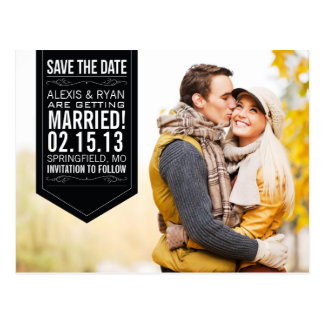 Black Save The Date Postcard