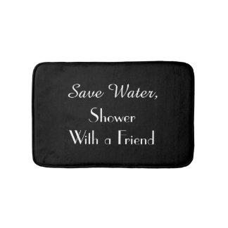 Black Save Water Funny Plush Bath Mat