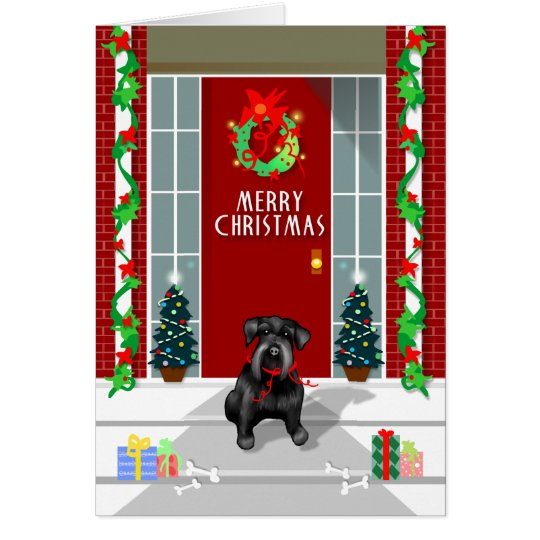 Black Schnauzer Dog Merry Christmas Holiday Card