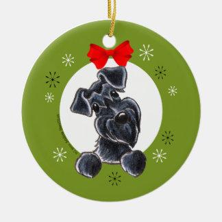 Black Schnauzer Natural Ears Christmas Classic Round Ceramic Decoration