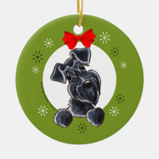 Black Schnauzer Natural Ears Christmas Classic Round Ceramic Decoration