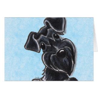 Black Schnauzer Natural Ears Custom Greeting Card